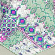 Kit: 1 Cobre-leito Casal Bouti de Microfibra Ultrasonic Estampada + 2 Porta-travesseiros - Aleksis - Dui Design