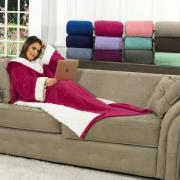 Cobertor com Mangas de Sofá com efeito Pele de Carneiro Dupla Face - Sherpa Domo - Dui Design
