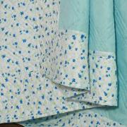 Kit: 1 Cobre-leito Casal Bouti de Microfibra Ultrasonic Estampada + 2 Porta-travesseiros - Janina Azul - Dui Design