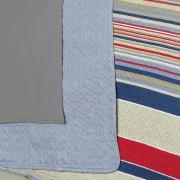 Kit: 1 Cobre-leito Queen Bouti de Microfibra Ultrasonic Estampada + 2 Porta-travesseiros - Nicolas Azul - Dui Design