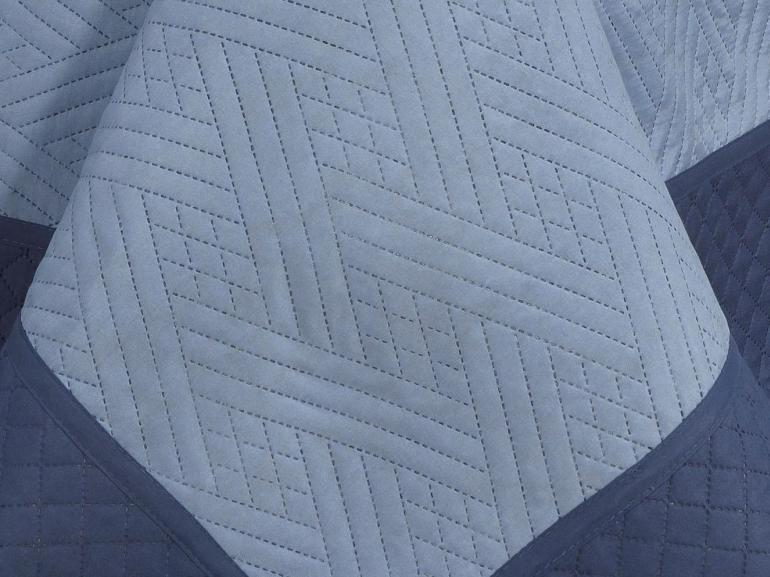 Kit: 1 Cobre-leito Queen Bouti de Microfibra Ultrasonic + 2 Porta-travesseiros - Portinari Indigo - Dui Design